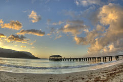 Cais de Hanalei no crepúsculo. Kauai, Havaí. Imagens de Stock