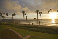 Cais de San Clemente após uma tempestade com gaivota de mar Foto de Stock Royalty Free
