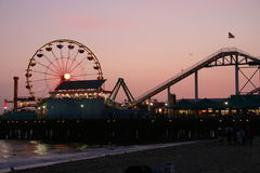 Cais de Santa Monica no crepúsculo Imagem de Stock