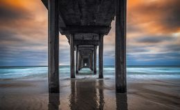 Cais de Scripps em La Jolla San Diego no por do sol fotografia de stock royalty free