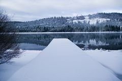 Cais do lago Donner no inverno Imagem de Stock Royalty Free