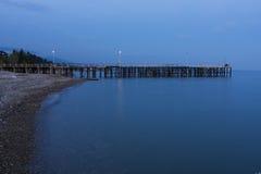 Cais do mar na noite Imagem de Stock Royalty Free