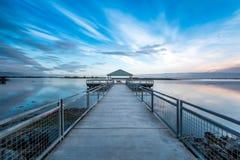 Cais do nascer do sol da manhã Foto de Stock Royalty Free