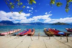 Cais do navio de cruzeiros do lago Lugu Fotos de Stock Royalty Free