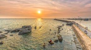 Cais do por do sol, Phu Quoc, Vietname Foto de Stock Royalty Free