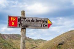 Cais do Sardinha hiking trail sigh Royalty Free Stock Image