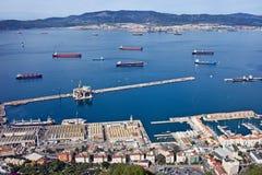Cais e baía de Gibraltar de cima de Imagens de Stock Royalty Free