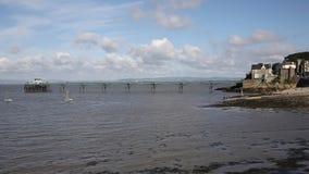 Cais e frente marítima de Clevedon Somerset na cidade da costa perto de Bristol e da bandeja da Weston-super-égua video estoque
