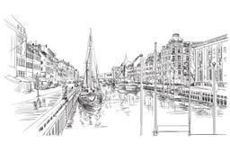 Cais em Copenhaga ilustração royalty free