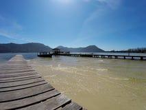 Cais em Lagoa a Dinamarca Conceição em polis do ³ de Florianà - Santa Catarina - Brasil Fotografia de Stock
