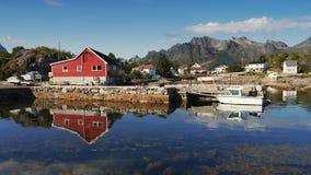 Cais nas ilhas norueguesas de Lofoten Imagem de Stock