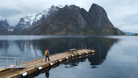 Cais no fiorde com um homem Raine Lofoten de Noruega vídeos de arquivo