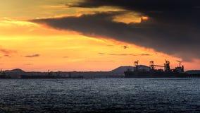 Cais no por do sol Imagens de Stock
