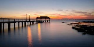 Cais no por do sol, Florida da cidade de Sebring fotos de stock royalty free