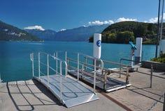 Cais principal do navio, Thunersee, Spiez, Suíça Fotografia de Stock Royalty Free