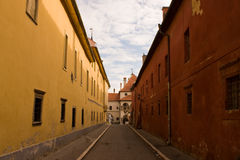 Cais velho da cidade da cidade de Levoca Fotografia de Stock