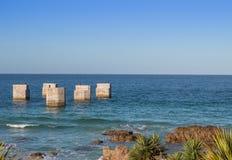 Cais velho no porto Elizabeth South Africa da praia de Humewood Foto de Stock