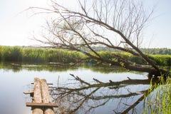 Cais velho rústico em um rio pequeno foto de stock