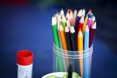 Caisse colorée de plumier Images libres de droits