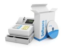 Caisse comptable et softw autorisé illustration de vecteur