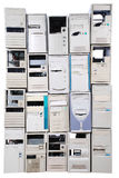 Caisse de beaucoup vieille d'ordinateurs Images libres de droits