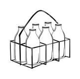 Caisse de bouteille à lait dans le dessin noir de contour-vecteur Illustration Libre de Droits