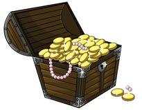 Caisse de coffre au trésor de bande dessinée avec les pièces d'or et le collier de perle Photo stock