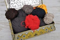 Caisse de laine et de bidon Images stock