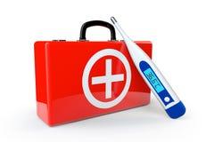 Caisse de premiers soins avec le thermomètre Photographie stock