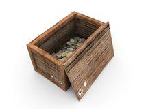 Caisse en bois avec des euro à l'intérieur Images libres de droits