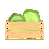 Caisse en bois avec le chou Photo stock