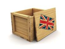 Caisse en bois avec le drapeau BRITANNIQUE de timbre Image avec le chemin de coupure illustration de vecteur