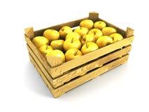 Caisse en bois complètement de pommes Photographie stock