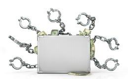Caisse en métal avec l'argent et les chaînes illustration 3D illustration de vecteur