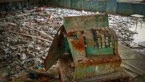 Caisse enregistreuse dans la salle à manger à une école dans Pripyat Image stock