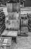 Caisses de boîte en bois photographie stock