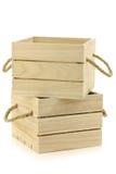Caisses en bois avec des poignées de corde Image libre de droits