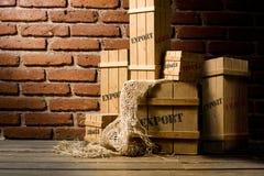 Caisses en bois emballées pour l'exportation photo libre de droits