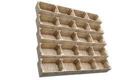 Caisses en bois empilées Images libres de droits