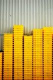 Caisses jaunes Photographie stock libre de droits