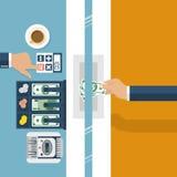 Caissier à la banque Banque de travailleur, spécialiste financier Images stock