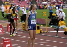 CAITLYN COLLIER USA after 800 METRES semi-final at the IAAF World U20 Championships in Tampere,. TAMPERE, FINLAND, July 11: CAITLYN COLLIER USA after 800 METRES stock photos