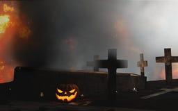 Caixão aberto do cemitério de Dia das Bruxas com cruz no fogo e na névoa 3d-il Imagens de Stock