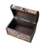 Caixão de madeira aberto velho isolado Imagem de Stock Royalty Free