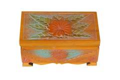 Caixão de madeira isolado no fundo branco Fotos de Stock Royalty Free