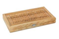 Caixão de madeira para a gamão Fotos de Stock
