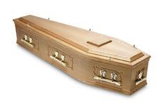 Caixão de mogno ornamentado do caixão com punhos de bronze Imagens de Stock