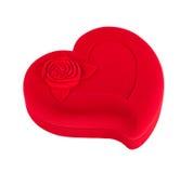 Caixão heart-shaped vermelho isolado foto de stock