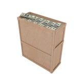 Caixa aberta com muitos dólares Fotografia de Stock