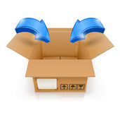 Caixa aberta com seta para dentro Imagem de Stock